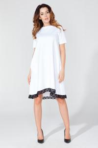 White Flared Short Sleeves Dress with Lace Edging