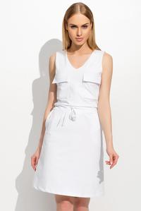 White Drawstring Waist Front Pockets Casual Dress