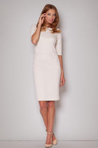Elbow Sleeves Seam Shift Beige Dress