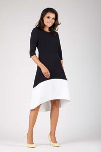 Black and White Midi Dress Asymmetrical Cut