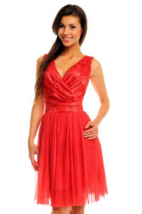 Red Evening Party Dress with Tulle
