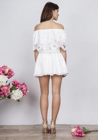 White Romantic Off Shoulders Dress with Lace&Frill
