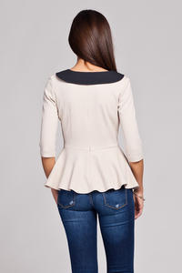 Beige Seam Top with Frilled Hemline and Elbow Length Sleeves