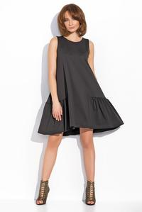 Black Sleeveless Drop Waist  Swing Dress