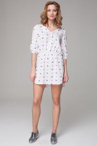 Patterned 3/4 Sleeves Mini Summer Dress