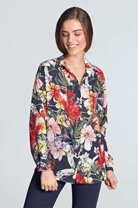 Dark Blue Floral Pattern Long Sleeved Shirt
