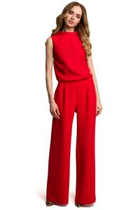 Red Collared Sleeveless Jumpsuit