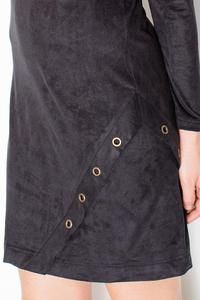 Black Round Rivets Casual Dress