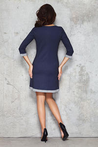 Dark Blue Contrasting Pipings Office Dress
