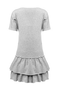 Grey Double Frill Casual Mini Dress
