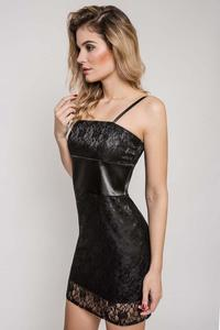 Black Lace Dress with Satin Waist Panel