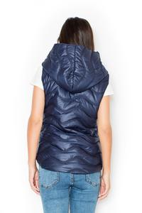 Blue Hooded Padded Snaps Closure Vest Jacket