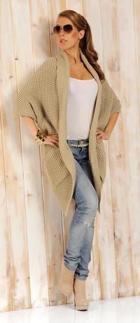 Beige Oversized Cardigan with Pockets