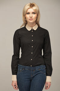 Black Vintage Blouse With Beige Round Collar And Cuffs