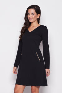 Black V Neck Shift Dress with Side Pockets
