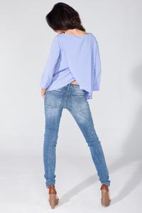 Light Blue Wrap Back 3/4 Sleeves Blouse
