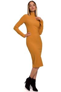 Fitted Midi Dress with Turtleneck (Mustard)