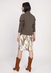 Khaki Short Zipped Jacket with Stand-up Collar