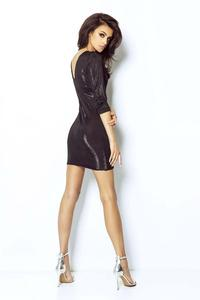 Black Shiny Party Dress with Cut out Back