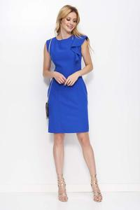 Blue Simple Pencil Dress with a Frill