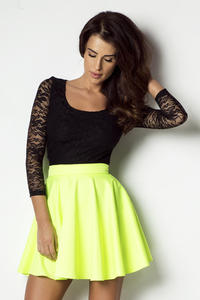Lime Yellow Light Pleats Mini Skirt