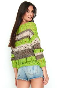 Lime beige Beige Openwork Sweater with Colorful Stripes