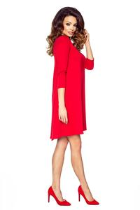 Red Flared 3/4 Sleevess Classic Dress