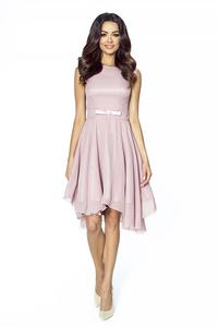 Elegant Pink Chiffon Dress With Bow