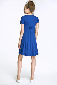 Blue Flared Mini Dress with Bow at The Back