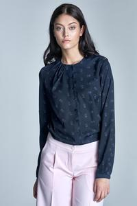 Dark Blue&Pink Delicate Pattern Long Sleeves Blouse