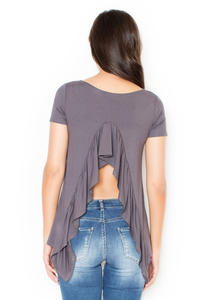 Grey Blouse with Frill at The Back