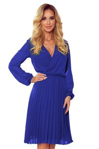 Blue Wrapped Front Pleated Dress