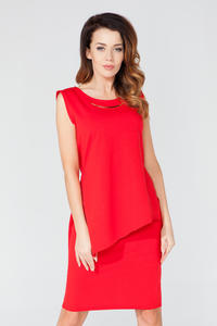 Red Asymmetrical Sleeveless Blouse