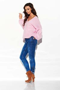 Light pink Loose V-neck Sweater