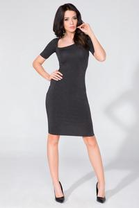 Black Asymetrical Neckline Tube Dress