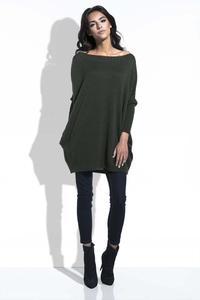 Olive Green Long Sweater with Pockets