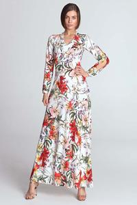 Ecru Maxi Long Floral Pattern Dress