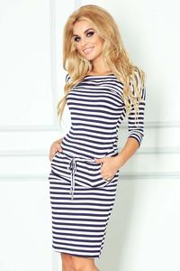 Dark Blue&White Casual Style Drawstring Waist Dress