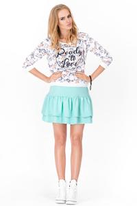 Mint Green Two Layers Frilled Mini Skirt