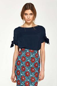 Dark Blue Short Sleeves Blouse with Bows on the Sleeves