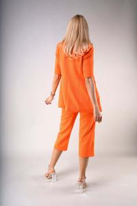 One Button Blazer with Short Sleeves - Orange