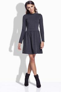 Dark Grey Long Sleeves Casual Dress