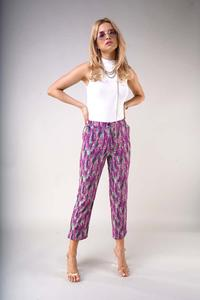 7/8 material trousers with straight legs - Lavender
