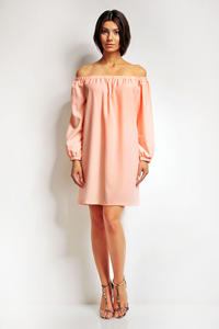 Pink Boho Chic Elastic Off SHoulder Neckline Dress
