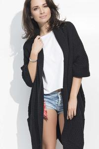 Black Long Bat Sleeves Cape Cardigan