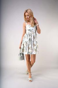 Flared Summer Dress with Braces - Patterned