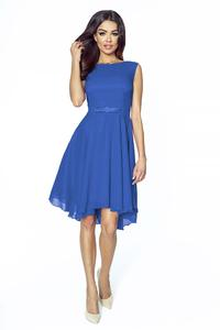 Elegant Blue Chiffon Dress With Bow