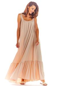 Beige Maxi Dress with thin straps with a frill
