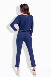 Dark Blue Bat Sleeves Jumpsuit