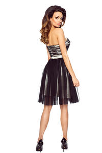 Grey&Black Bandeau Prom Tulle Dress